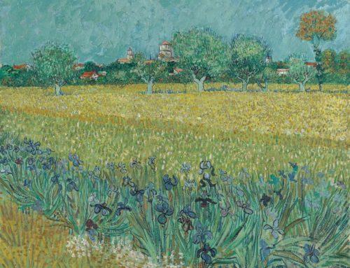 Van Gogh con paisaje de fondo